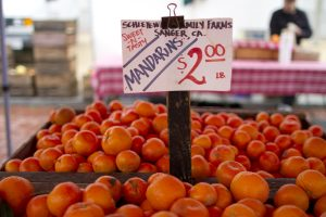 Mandarins for sale at the Heart of the City farmers market in San Francisco