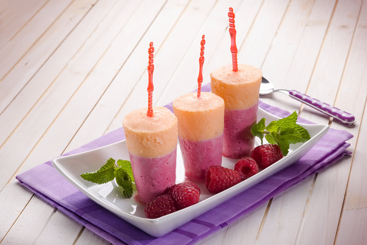 Icy Fruit Pops on Plate